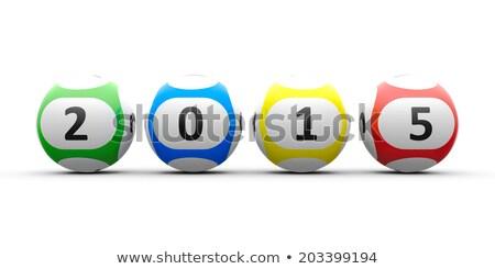 lottó · golyók · 2015 · fehér · asztal · új - stock fotó © Oakozhan