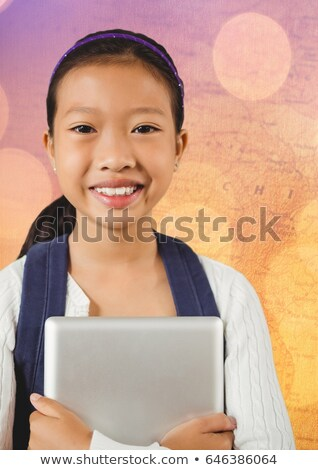 девушки таблетка карта bokeh цифровой композитный ребенка Сток-фото © wavebreak_media