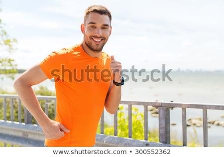 を実行して · 若い男 · ジョギング · ビーチ · ハンサム · シャツを着ていない - ストックフォト © dolgachov