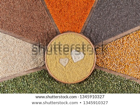 Food with love concept with various seeds and grains Stock photo © lightkeeper