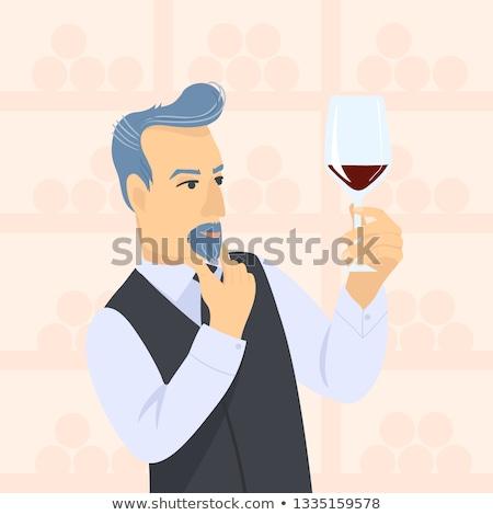 Portre adam şarap kadehi restoran kadın Stok fotoğraf © wavebreak_media