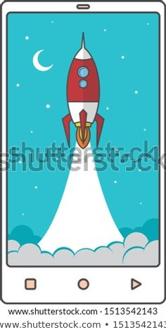 fast boost mobile phone space rocket shuttle theme vector Stock photo © vector1st