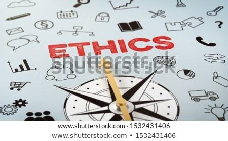 Iránytű szöveg ikonok etika siker ajándék Stock fotó © Zerbor