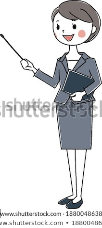 simple suit business woman_pointing stick A Stock photo © toyotoyo
