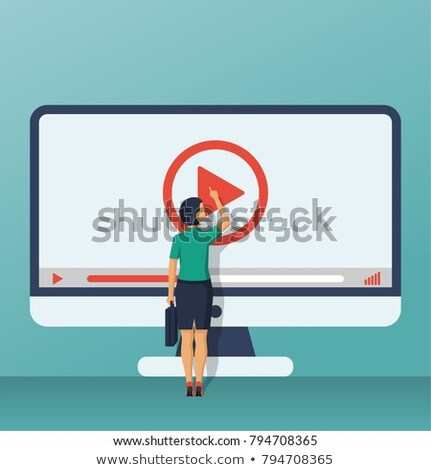 Woman with Video Play Button, Social Media Vector Stock photo © robuart