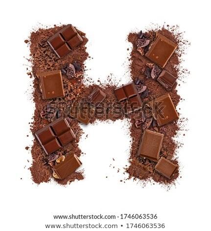 H betű csokoládé szelet darabok izolált fehér étel Stock fotó © grafvision