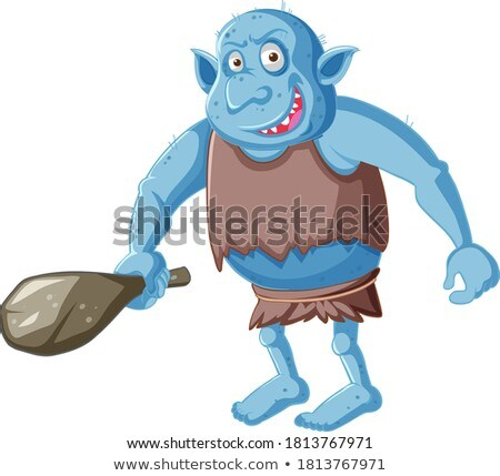 Blue goblin or troll holding hunting tool in cartoon character i Stock photo © bluering