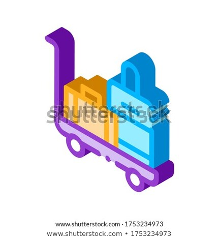 Baggage Cart With Valise isometric icon vector illustration Stock photo © pikepicture