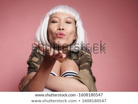 Obraz asian dziewczyna biały peruka Zdjęcia stock © deandrobot