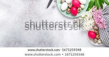 csillámlás · húsvéti · tojások · csoport · színes · izolált · fehér - stock fotó © arsgera