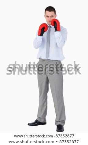 Businessman prepared for tough negotiation on white background Stock photo © wavebreak_media