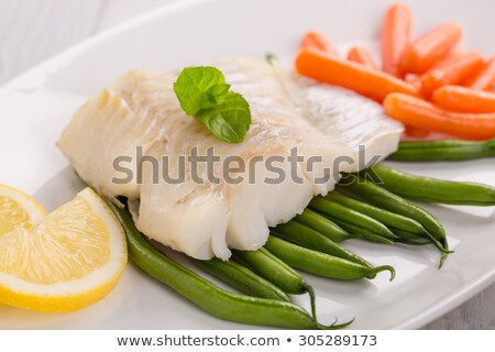 halibut fillet with mint Stock photo © phbcz