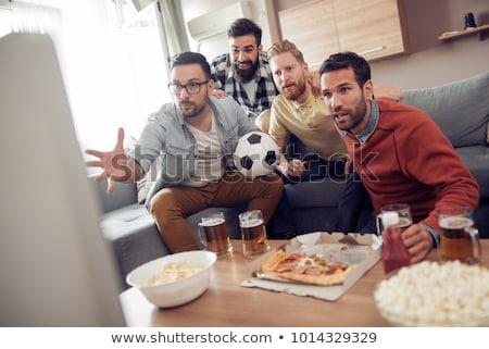 jóvenes · bastante · ninas · sesión · sofá · viendo - foto stock © spectral