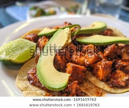 新鮮な タコス 食品 表 ストックフォト © racoolstudio
