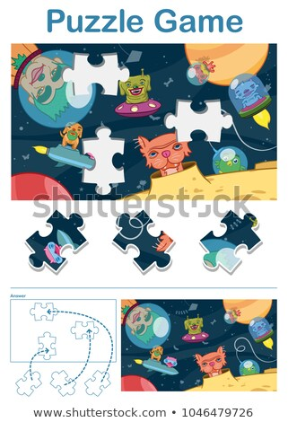 Missing piece puzzle game with alien space animals Stock photo © adrian_n