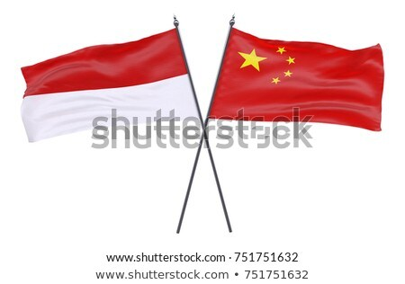 Due bandiere Cina Indonesia isolato Foto d'archivio © MikhailMishchenko
