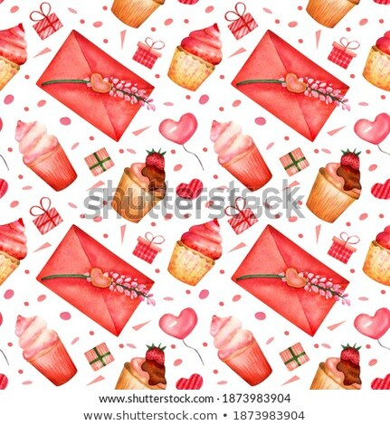 Greeting envelopes pattern with tulip on a yellow background. Stock photo © artjazz