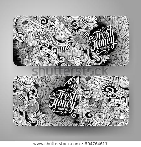 Miel dibujado a mano garabato banner Cartoon detallado Foto stock © balabolka