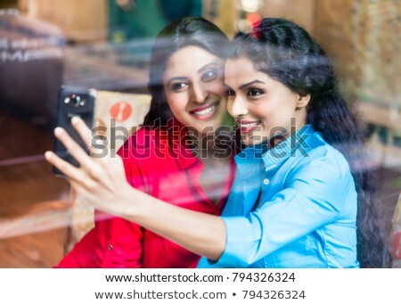 People Taking Selfie in Coffeehouse Friend in Cafe Stock photo © robuart