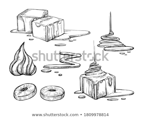 Flowing Sticky Sweet Toffee Caramel Cream Vector Stock photo © pikepicture