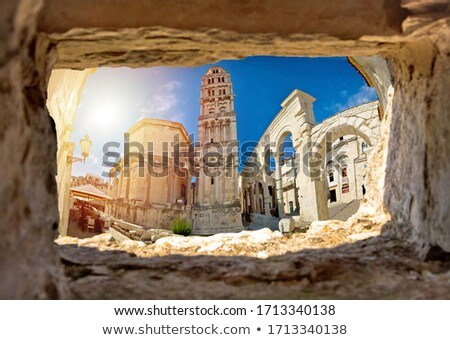 Ancien old Roman queen Jelena square and cathedral in Split view Stock photo © xbrchx