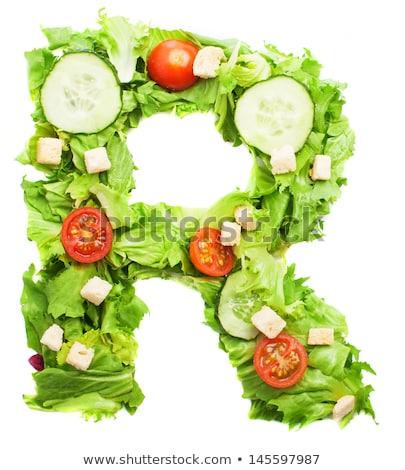 Egészséges friss zöldségek saláta uborkák paradicsomok vöröshagyma Stock fotó © DenisMArt