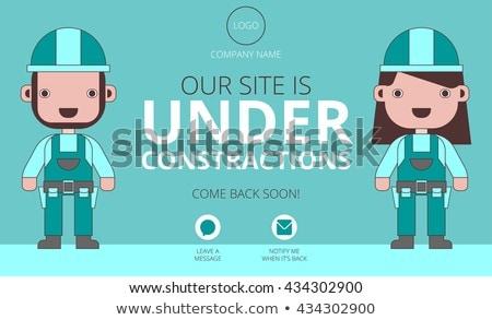 Binnenkort bouw twee web banner ontwerp Stockfoto © SArts