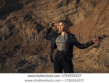 sexy · fetisch · vrouw · leder · pants · geïsoleerd - stockfoto © grafvision
