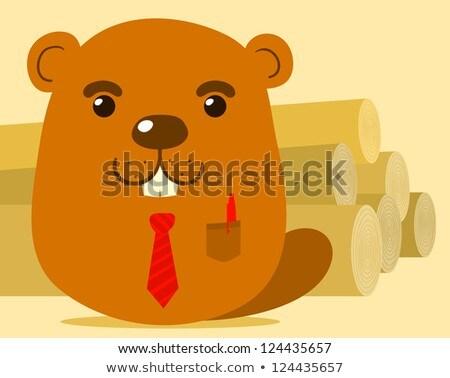cute cartoon beaver salesman stock photo © adrian_n