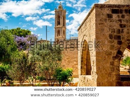 Kolostor Ciprus panoráma fa fal művészet Stock fotó © Kirill_M