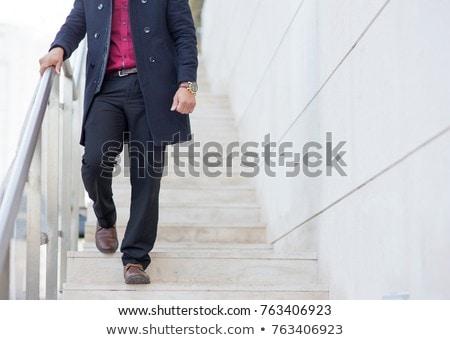 gelukkig · jonge · man · lopen · stad · brug · fitness - stockfoto © hasloo
