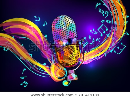 Abstract background with retro radio and musical instruments Stock photo © lem