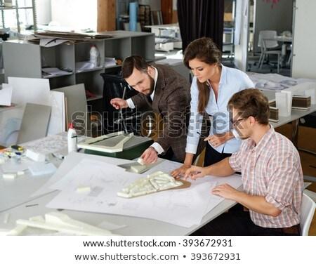 zakenvrouw · tekening · blauwdruk · business - stockfoto © deandrobot