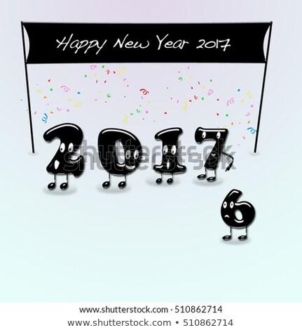 Zahlen Jahr Neujahr Karikatur Text glückliches neues Jahr Stock foto © asturianu