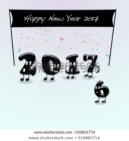 Cijfers jaar nieuwjaar cartoon tekst gelukkig nieuwjaar Stockfoto © asturianu