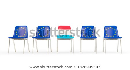 Row of chairs with flag of EU and luxembourg Stock photo © MikhailMishchenko