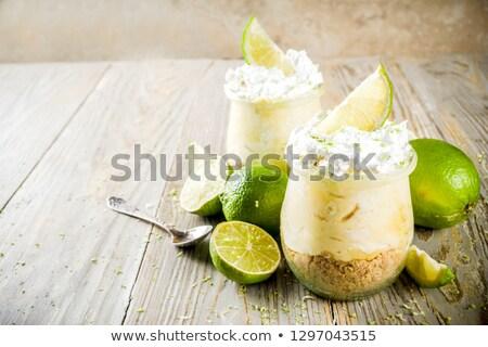Fatto in casa limone cheesecake Coppia verde Foto d'archivio © mpessaris