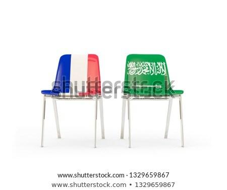 Foto stock: Dois · cadeiras · bandeiras · França · Arábia · Saudita · isolado