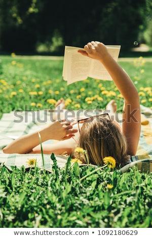 Mulher relaxante parque leitura livro cobertor Foto stock © robuart