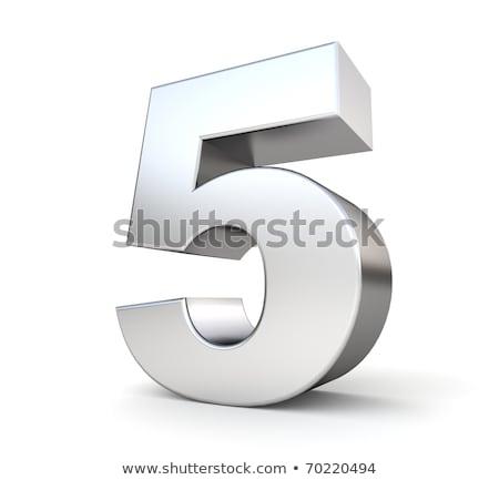 Brushed metal font Number 5 FIVE 3D Stock photo © djmilic