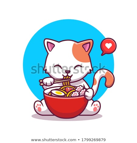 vector of cat eating noodle Stock photo © olllikeballoon