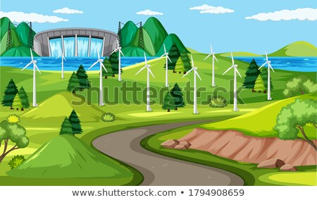 Manufactory and wind turbine and long road scene Stock photo © bluering