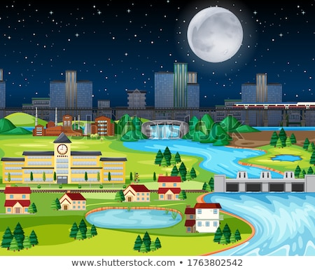Theme night city park hometown with the moon landscape scene  Stock photo © bluering