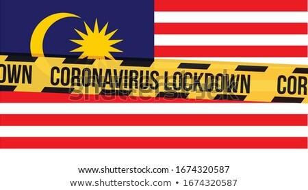Quarantine due to coronavirus epidemic covid19 Malaysia flag also known as Jalur Gemilang wave with  Stock photo © galitskaya