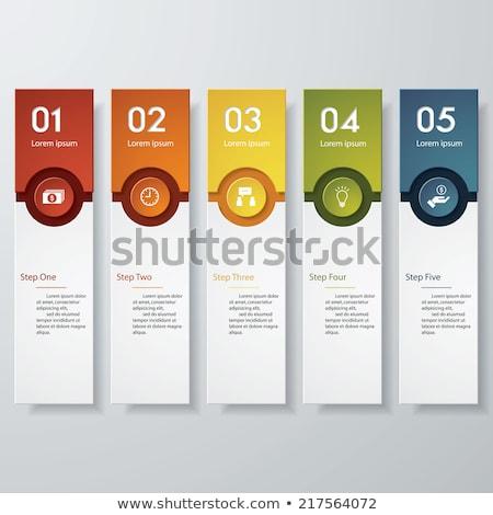 Stock fotó: Infografika · design · sablon · papír · címkék · ötlet · kirakat