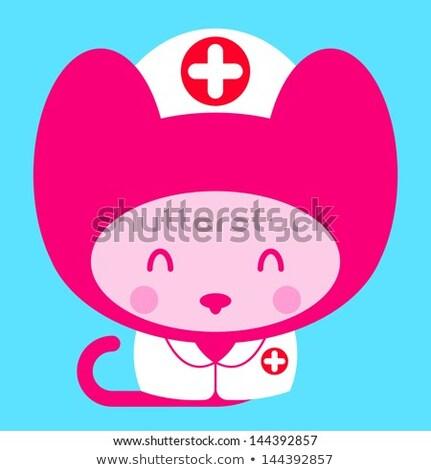 Kawaii мало розовый девушки кошки медсестры Сток-фото © adrian_n