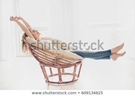 красивая женщина расслабляющая плетеный Председатель довольно Sexy Сток-фото © dash