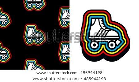 Lata osiemdziesiąte skate ikona kolorowy ramki dopasowywanie Zdjęcia stock © adrian_n