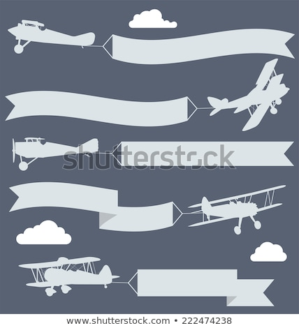 The Old Vintage Airplane With Banner Ribbon Stockfoto © GoMixer