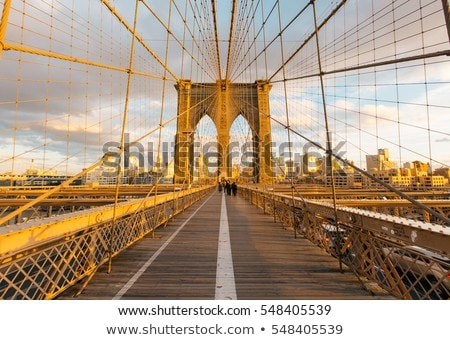 Famous Brooklyn Bridge with cab Stock photo © vwalakte